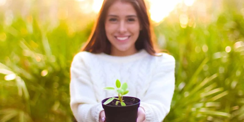 Welcome to ReachingSelf - Girl Smiling Holding Small Plant