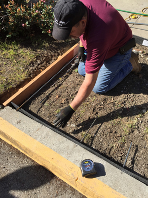 Prep for pouring a new sidewalk section