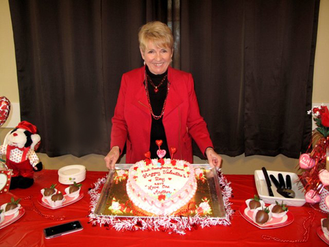 Kathy and her valentine cake