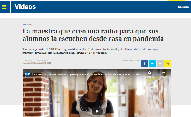 Ganadora del Premio ReachingU al Docente 2020 es destacada por el diario El País