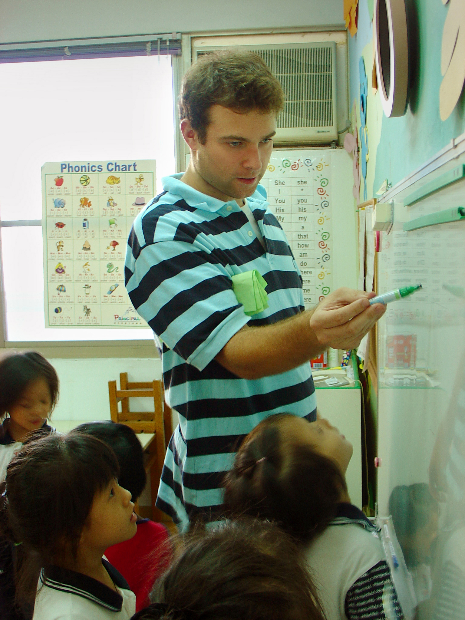 An American teaching english to elementary Korean students