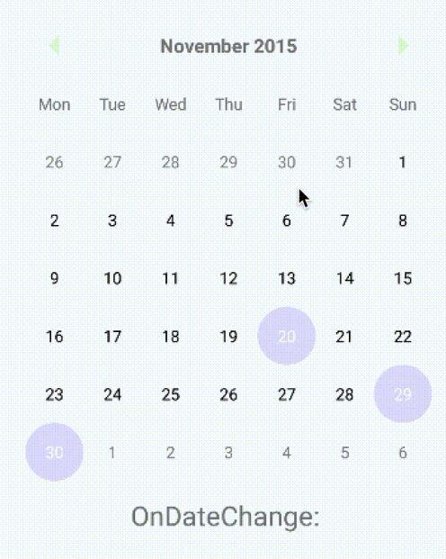 Material Inspired Calendar For React Native