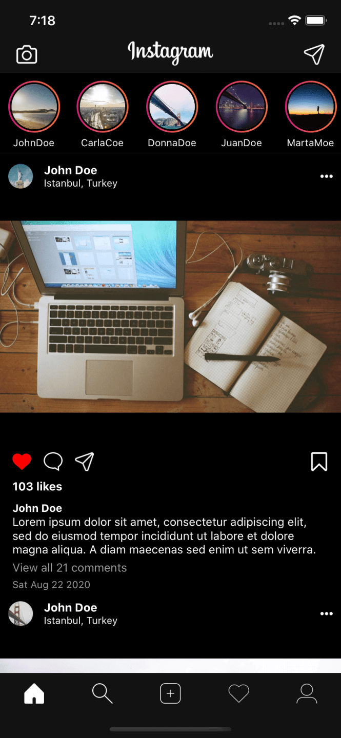 React Native Instagram Clone