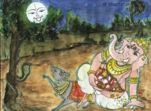 lord ganesha curses the moon - shortstoriescoin - image