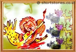 cunning-hare-witless-lion-panchatantra-tales-shortstoriescoin-image1