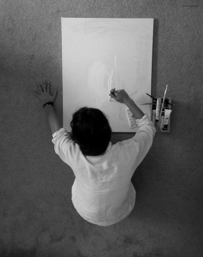 writing on empty canvas