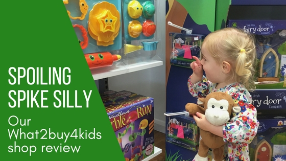 spoiling spike silly with a trip to What2buy4kids toy shop in Southport blog title