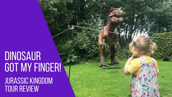 Dinosaur getting Spike's finger during our Blackpool Jurassic Kingdom Tour
