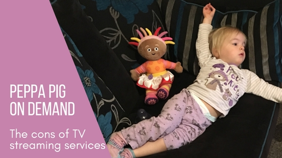 My toddler lounging on the sofa watching peppa pig and the downsides of tv streaming services