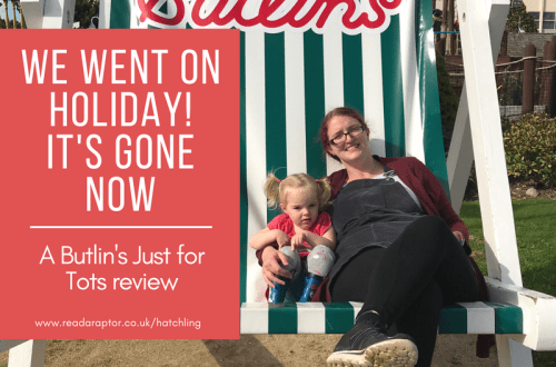 read our Butlin's Just For Tots review with mummy and Spike enjoying the giant deckchair