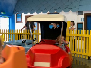 Spike having fun on the Little Stars Fairground rides at Butlin's Just For Tots