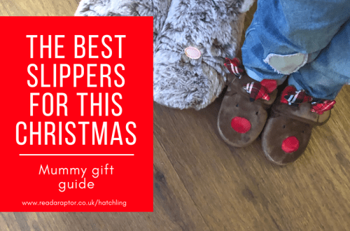 Mummy and Spike slippers with THE BEST SLIPPERS FOR THIS CHRISTMAS caption