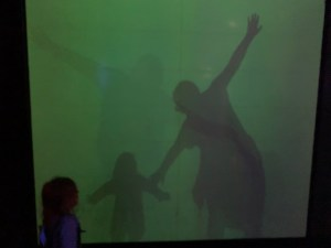 Me and Spike doing the shadow show at Camera Obscura world of illusions in Edinburgh