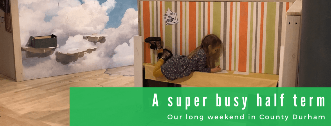A super busy half term blog title image with spike lying on a bench at Seven Stories in Newcastle