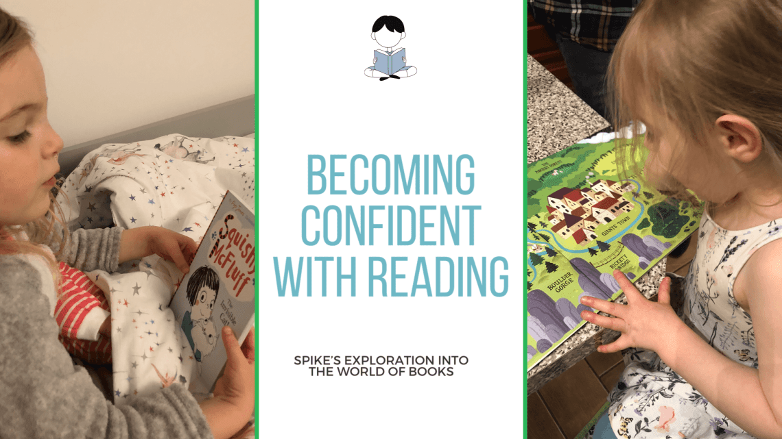 Blog Title image with Spike reading and with her bedtime storybook plus the title ;Becoming confident with reading'