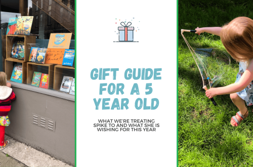 Gift guide for a 5 year old - what we're treating Spike to this year blog title banner with two images. Image 1 is Spike looking longingly into Waterstones' window and the send if spike running through the garden with Dr Zigs giant bubbles
