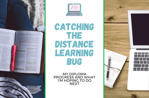 Catching the distance learning bug; a blog post graphic with blog title and images of a person with a notepad on their legs and another of a MacBook with a notepad next to it.