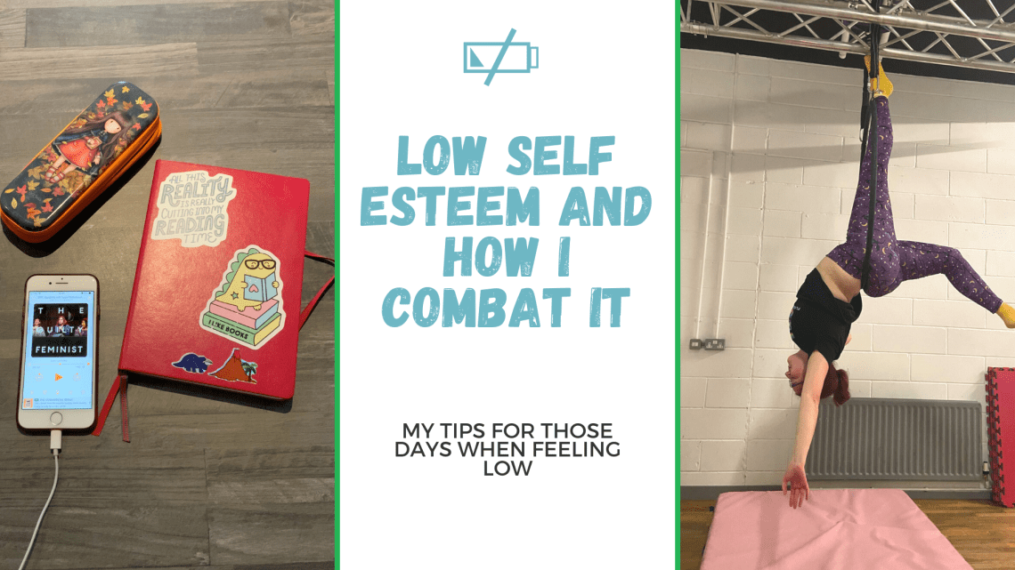 blog title graphic with blog title text and two images. Image one is my bullet journal and phone playing a podcast and image two is me doing a half back balance aerial hoop move