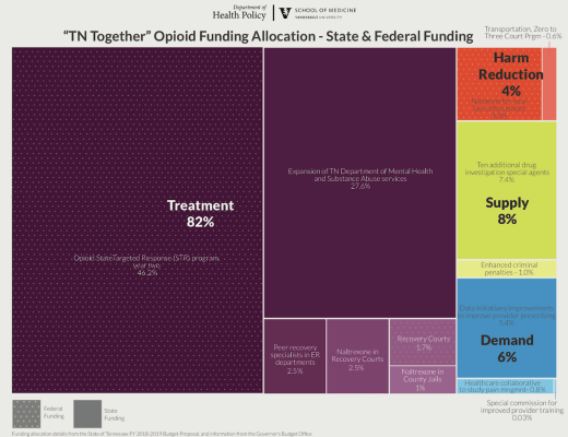 Health policy experts at the Vanderbilt University School of Medicine analyzed how the funding will be used to fight the opioid epidemic in Gov. Bill Haslam's $30 million 'TN Together' proposal. This visualizes the allocation of both state and federal funding.