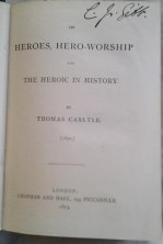 Signature of Charles Gibb (featured in the song Blaydon Races), on copy of Thomas Carlyle's On heroes, hero-worship and the heroic in history (London, 1873)
