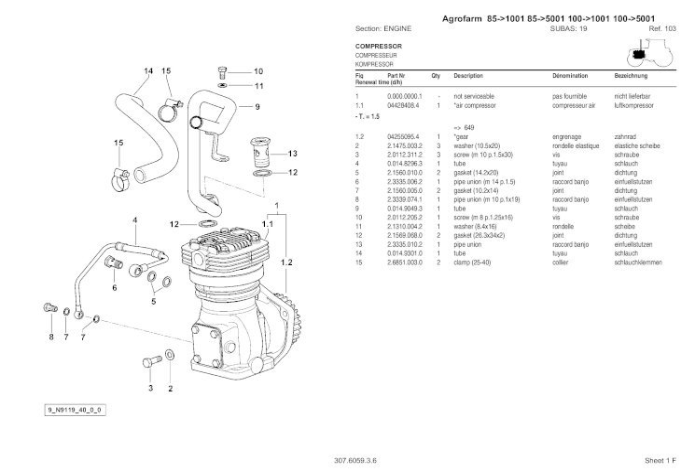 Deutz Fahr Agrofarm 100 Tractor Parts Catalogue Manual