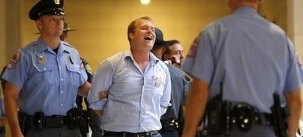Carl Gibson was arrested for his participation in Moral Monday in Raleigh this week. (photo: NewsObserver.com)