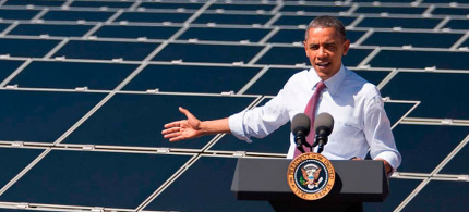 Pres. Obama in front of solar panels. (photo: whitehouse.gov)