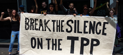 Protests against the TPP. (photo: Backbone Campaign/Flickr)