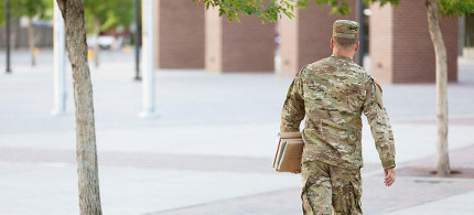 US military member on college campus. (photo: iStock)