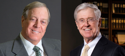 The Koch brothers, who head Koch Industries, a company which received the lowest grade on the Union of Concerned Scientists list of companies blocking climate change legislation. (photo: AP)
