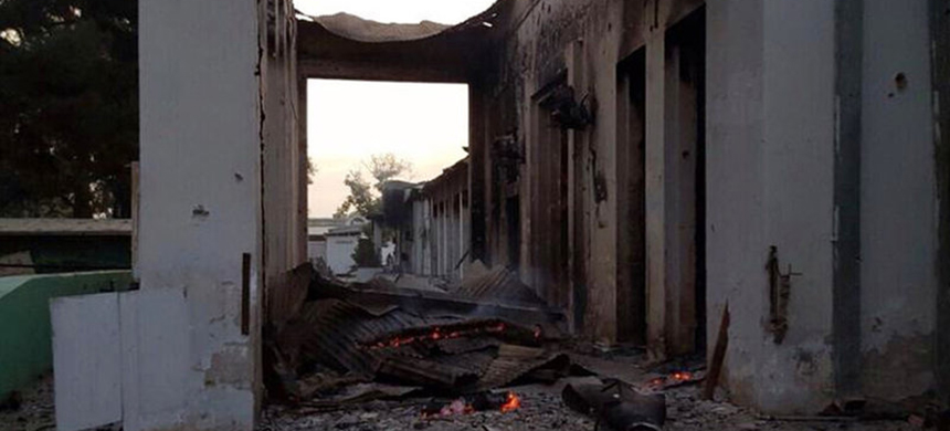 The burned Doctors Without Borders hospital is seen after explosions in the northern Afghan city of Kunduz, on Saturday. Doctors Without Borders says 12 staff members and 10 patients were killed in the attack and 37 others wounded. (photo: AP)