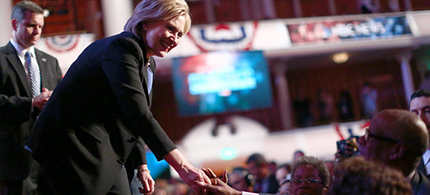 Hillary Clinton at the Democratic Debate. (photo: Travis Dove/NYT)