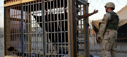 A detainee in Abu Ghraib prison in Iraq. (photo: John Moore/AP)