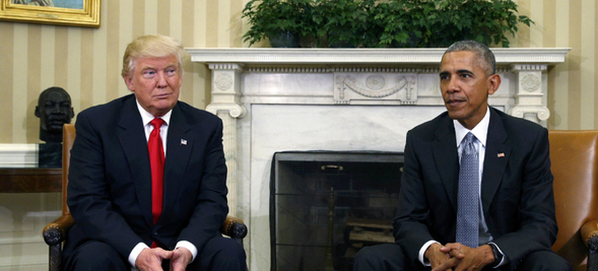 US President-elect Donald Trump meets President Barack Obama in the Oval Office of the White House on Thursday, less than two days after Mr. Trump beat Democratic rival Hillary Clinton. (photo: Kevin Lamarque/Reuters)