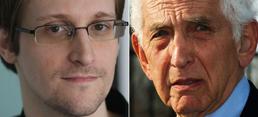 Worried about Trump's assault on press freedom ... Edward Snowden and Daniel Ellsberg Composite. (photo: Getty Images/Alan Rusbridger/Guardian UK)