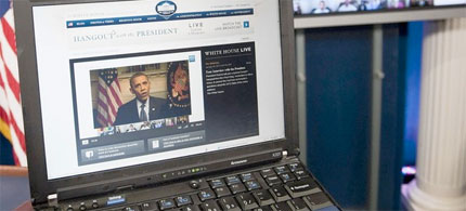 President Obama discusses drone strikes against al Qaeda and other militants in Pakistan during a 'virtual interview' via GooglePlus and YouTube, 01/30/12. (photo: Saul Loeb/AFP/Getty Images)