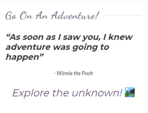 Let's go one an adventure!