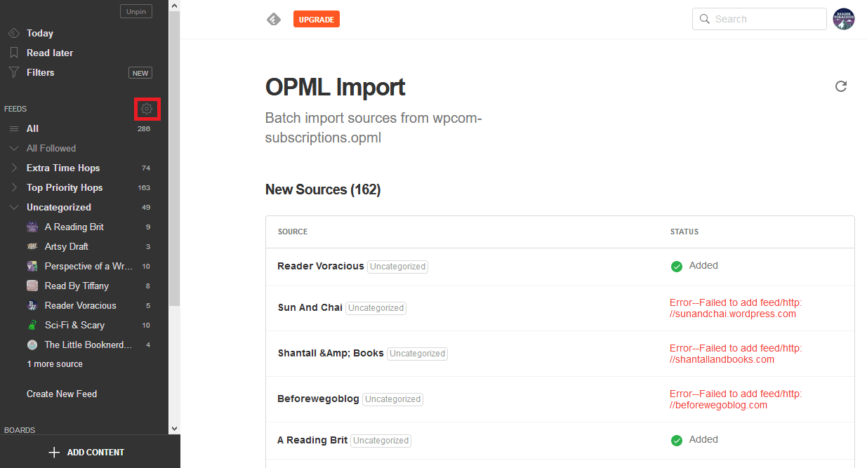 OPML Import of Blogs
