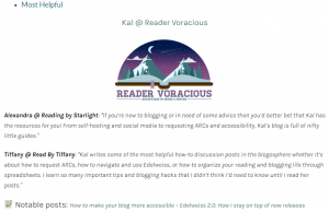 2020 Book Blogging Award: Most Helpful