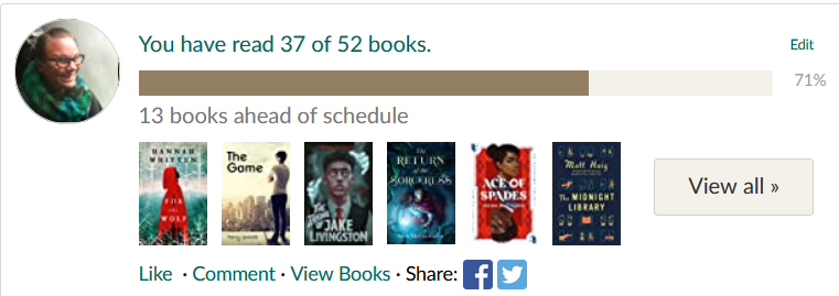 2021 Goodreads Goal Progress: 37 out of 52 books read