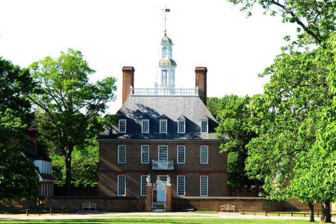 Head-on View of Governor's Palace, Williamsburg, Virginia, calls to mind the Federal era of American literature, written in the 1700s.