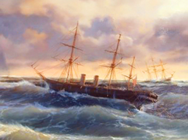 Painting of HMS Prince Sailing Ship tossing in a roiling sea. The ship at sea is Heaney's metaphor for how it feels to be separated from his loved one.