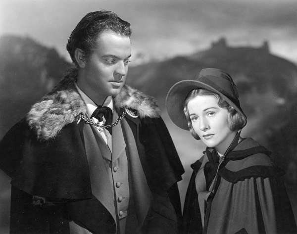 Black and White movie still showing Orson Welles and Joan Fontaine as Rochester and Jane in Jane Eyre, 1943*