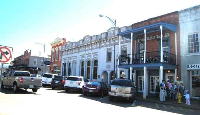"Downtown Oxford, Mississippi today. Faulkner's home town and his model for Jefferson, where ""A Rose for Emily"" is set.*"