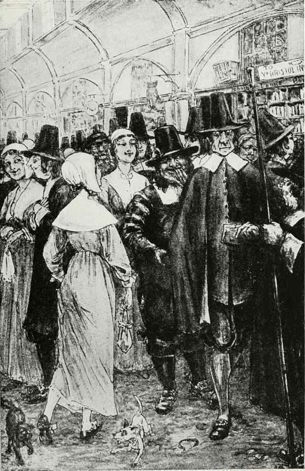 Book plate from an 1849 book on American History shows crowd of Pilgrims looking humorously self-satisfied. Like Hawthorne's view, this artist's view of Pilgrims was not entirely positive.