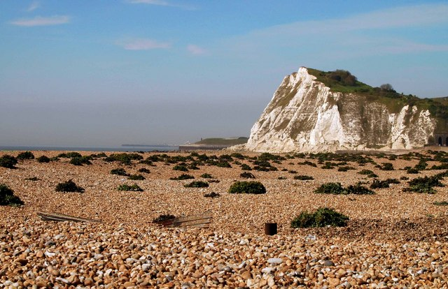 Photo of Shakespeare Cliff at Dover Beach by John Mavin* shows the rocky strand in the foreground and the tall white chalk cliff in the background.