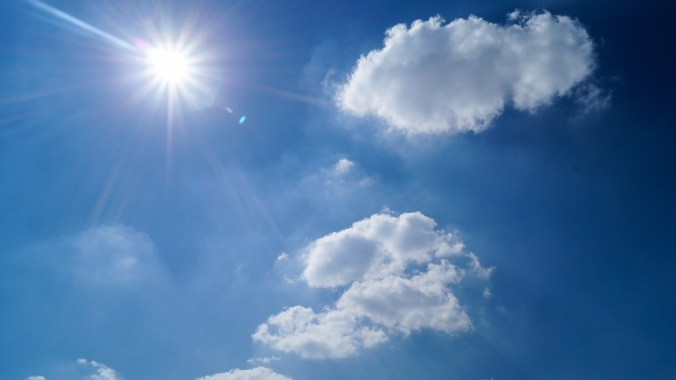 """Picture of small sun in a blue sky with clouds provides us with an image for a mind twist in two different poems, Sonnet 130 and """"Apparently with No Surprise"""""""