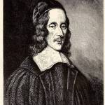 Engraving of portrait of George Herbert, Anglican Christian minister. 1593-1633.