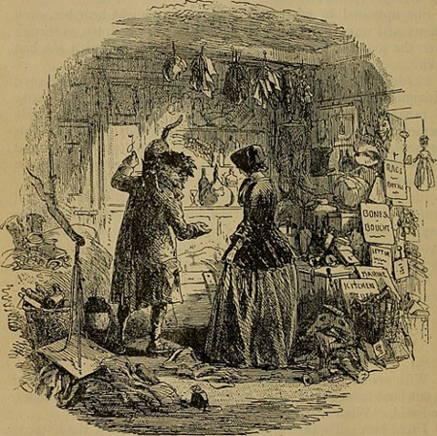 Original illustration from Bleak House by H. K. Brown showing Esther meeting Mr. Krook.