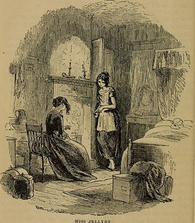 Original illustration from Bleak House by Hablot Knight Brown showing Esther, seated, talking to shabby girl Caddy.